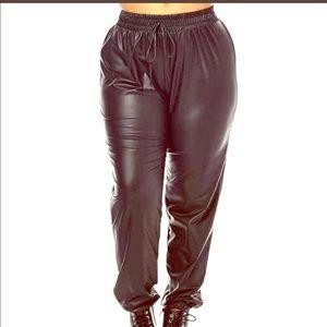 Black Faux Leather Joggers